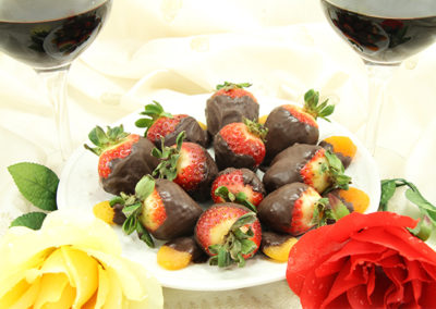 Chocolate FX strawberries and wine
